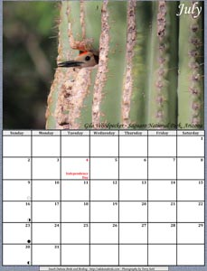 July 2017 Calendar - Gila Woodpecker