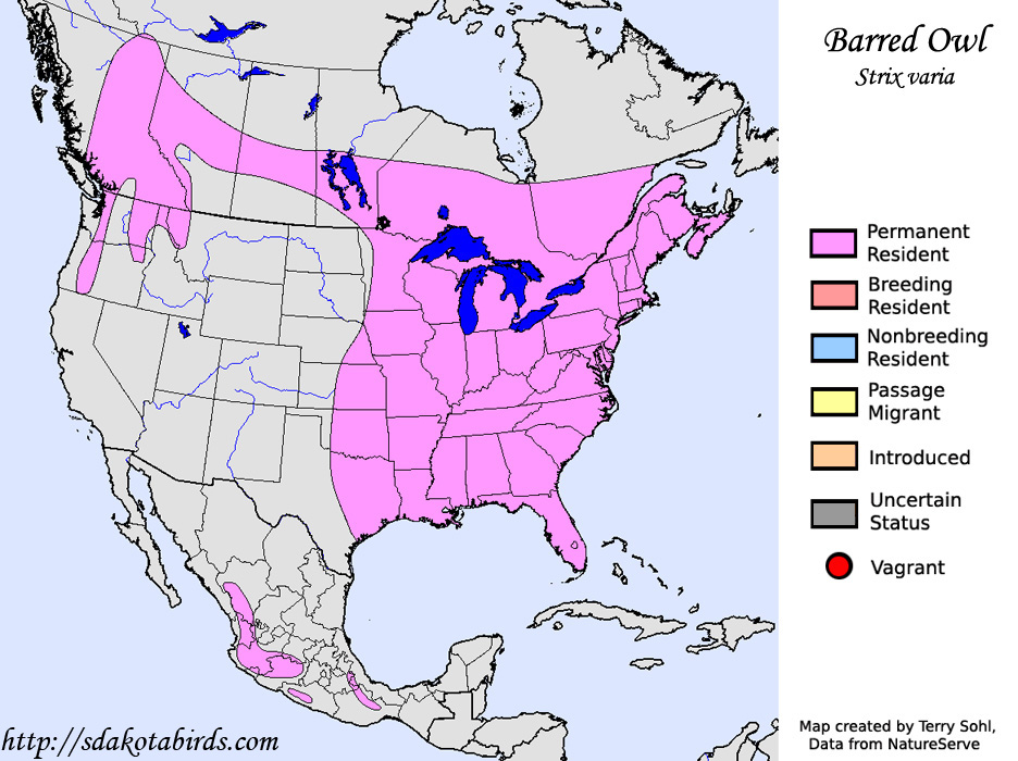 Barred Owl Species Range Map - Map of upstate ny